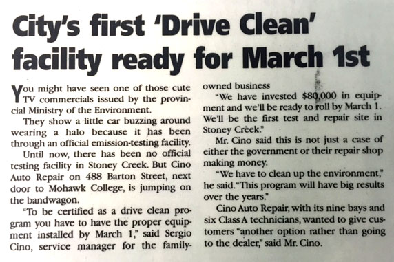 Cino Auto Repair - City's First Drive Clean Facility