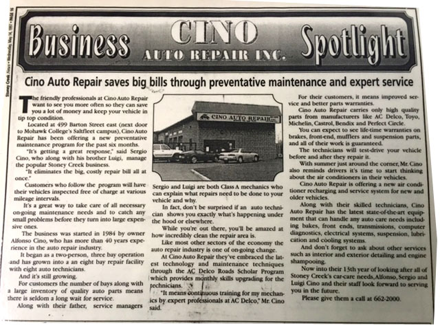 Cino Auto Repair Business Spotlight